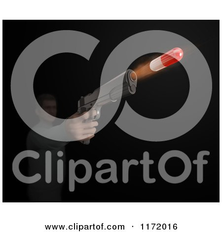 Clipart of a 3d Man Shooting a Medicine Pill Capsule Through a Gun - Royalty Free CGI Illustration by Mopic