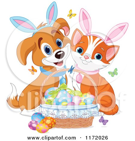 Cartoon of a Cute Kitten and Puppy with Bunny Ears and an Easter Basket of Eggs - Royalty Free Vector Clipart by Pushkin