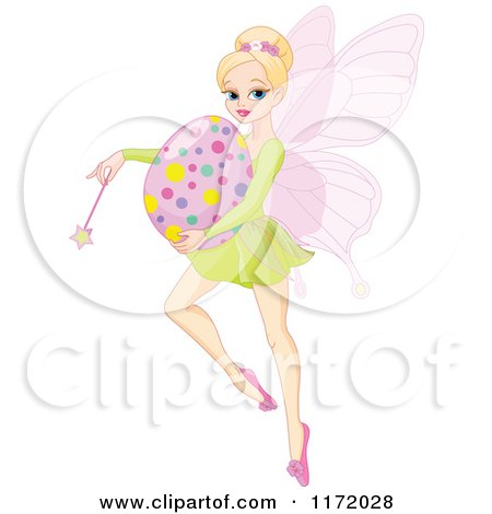 Cartoon of a Blond Easter Fairy Holding a Wand and Egg - Royalty Free Vector Clipart by Pushkin