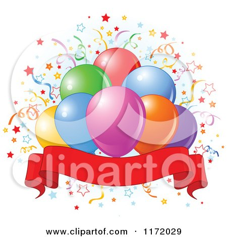 Cartoon of Colorful Party Balloons and Confetti over Blue and a Blank Ribbon Banner - Royalty Free Vector Clipart by Pushkin