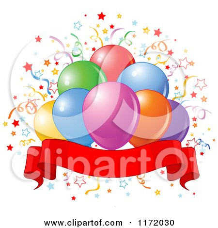 Cartoon of Colorful Party Balloons and Confetti over a Blank Ribbon Banner - Royalty Free Vector Clipart by Pushkin