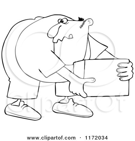 Cartoon Of An Outlined Man Bending Over And Picking Up A Box