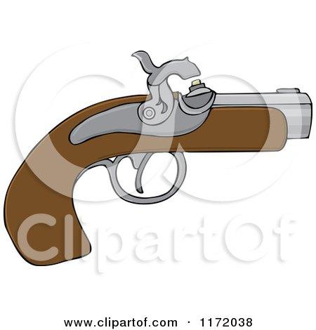 Cartoon of a Black Powder Pistol Gun - Royalty Free Vector Clipart by djart