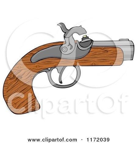 Cartoon of a Wooden Black Powder Pistol Gun - Royalty Free Clipart by djart