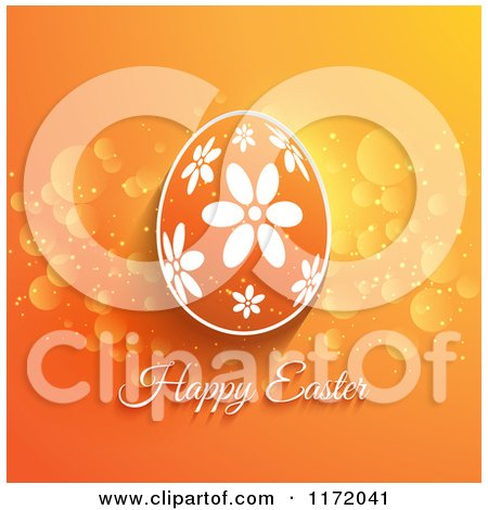 Cartoon of a Happy Easter Greeting Under a Floral Egg on Orange - Royalty Free Vector Clipart by KJ Pargeter