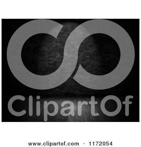 Clipart of a 3d Grayscale Room with a Brick Wall and Wood Floor in a Spotlight - Royalty Free CGI Illustration by KJ Pargeter