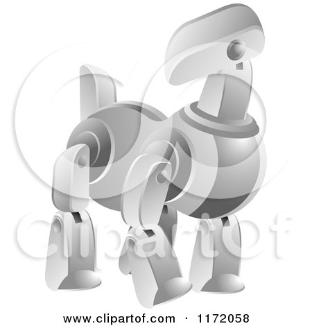 Clipart of a Silver Robot Dog - Royalty Free Vector Illustration by Lal Perera