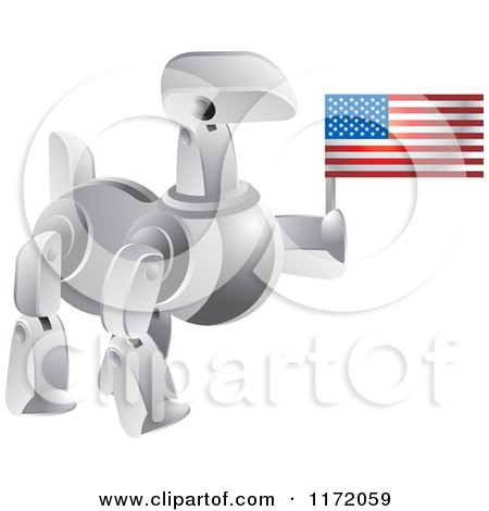 Clipart of a Silver Robot Dog Holding an American Flag - Royalty Free Vector Illustration by Lal Perera