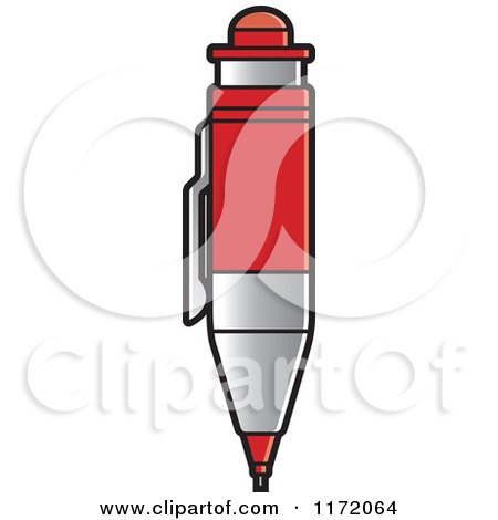 Clipart of a Red Drafting Pencil - Royalty Free Vector Illustration by Lal Perera
