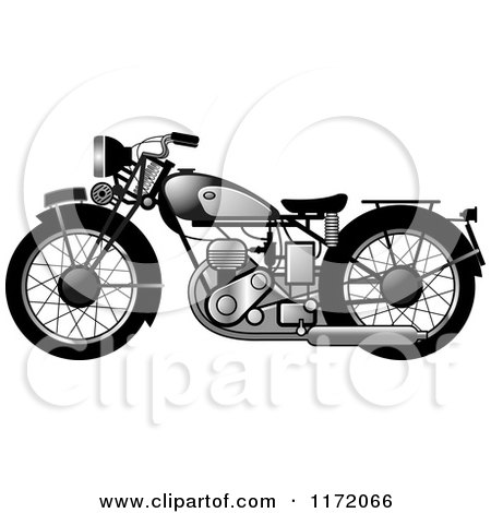 Clipart of a Chrome Vintage Motorcycle 2 - Royalty Free Vector Illustration by Lal Perera