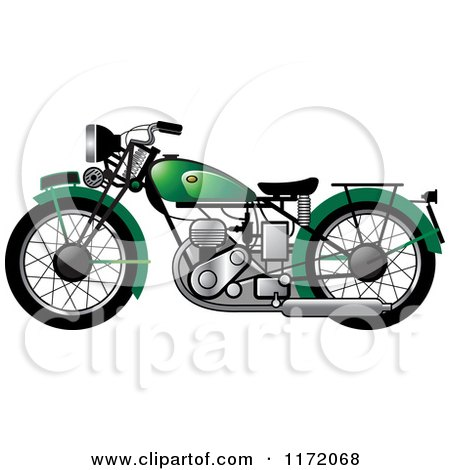 Clipart of a Green Vintage Motorcycle - Royalty Free Vector Illustration by Lal Perera