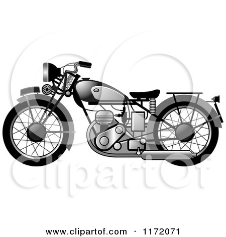 Clipart of a Chrome Vintage Motorcycle - Royalty Free Vector Illustration by Lal Perera
