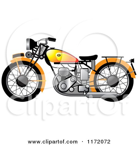 Clipart of a Yellow Vintage Motorcycle - Royalty Free Vector Illustration by Lal Perera