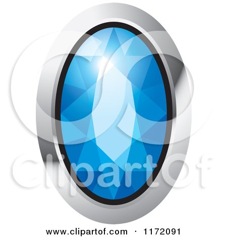 Clipart of an Oval Blue Diamond or Gemstone with a Silver Frame - Royalty Free Vector Illustration by Lal Perera