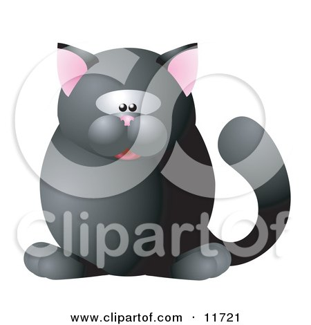 Cute Black Cat With Pink Ears Clipart Illustration by AtStockIllustration