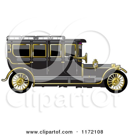 Clipart of a Vintage Black Car with Gold Trim - Royalty Free Vector Illustration by Lal Perera