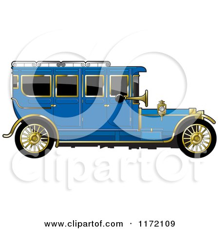 Clipart of a Vintage Blue Car with Gold Trim - Royalty Free Vector Illustration by Lal Perera