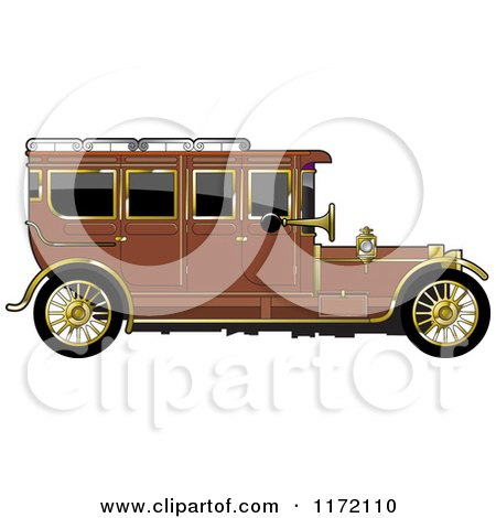 Clipart of a Vintage Brown Car with Gold Trim - Royalty Free Vector Illustration by Lal Perera