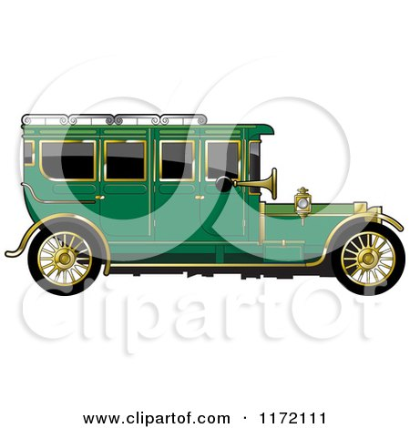 Clipart of a Vintage Green Car with Gold Trim - Royalty Free Vector Illustration by Lal Perera