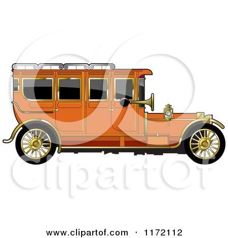 Clipart of a Vintage Orange Car with Gold Trim - Royalty Free Vector Illustration by Lal Perera