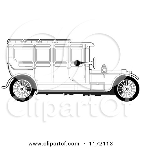 Clipart of a Vintage Black and White Car - Royalty Free Vector Illustration by Lal Perera