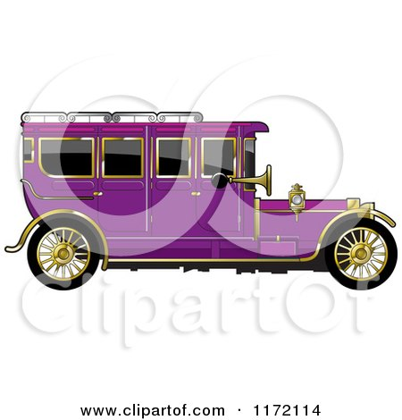 Clipart of a Vintage Purple Car with Gold Trim - Royalty Free Vector Illustration by Lal Perera