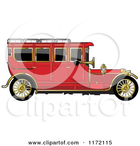 Clipart of a Vintage Red Car with Gold Trim - Royalty Free Vector Illustration by Lal Perera