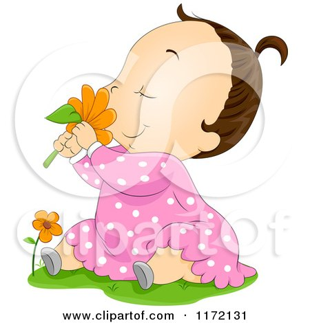 Cartoon of a Brunette Baby Girl Sitting in Grass and Smelling a Red Daisy - Royalty Free Vector Clipart by BNP Design Studio