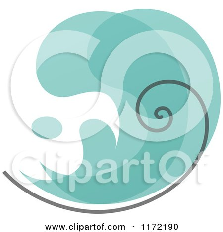 Clipart of a Turquoise Abstract Wave - Royalty Free Vector Illustration by elena