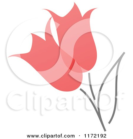 Clipart of Red Abstract Spring Tulip Flowers - Royalty Free Vector Illustration by elena