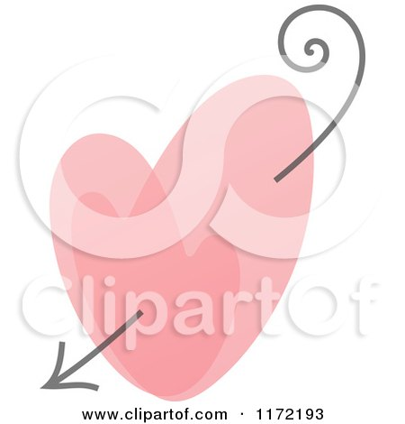 Clipart of a Pink Heart and Cupids Arrow - Royalty Free Vector Illustration by elena