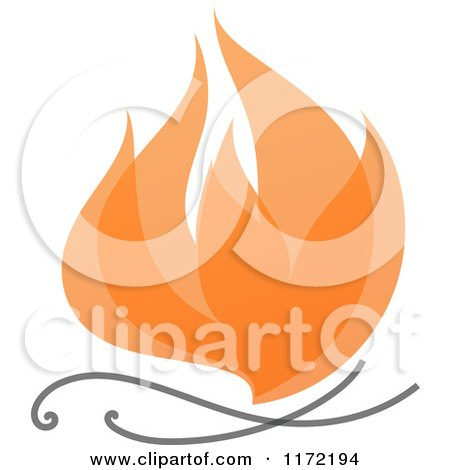 Clipart of an Orange Abstract Fire - Royalty Free Vector Illustration by elena