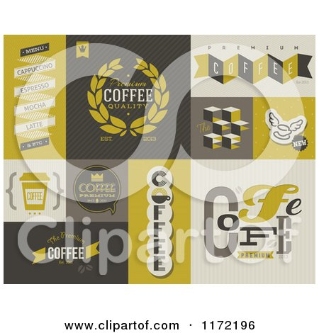 Clipart of Retro Coffee Badges and Labels - Royalty Free Vector Illustration by elena