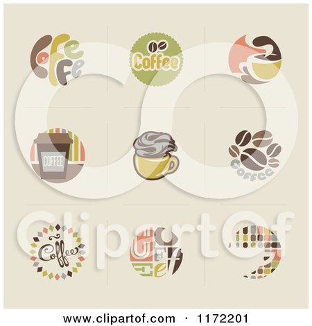 Clipart of Retro Coffee Icons and Logos on Beige - Royalty Free Vector Illustration by elena