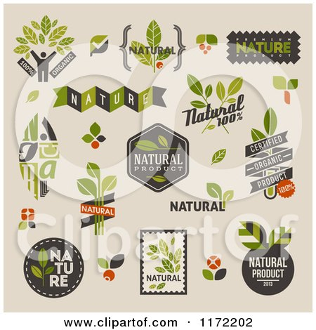 Clipart of Retro Natural Badges and Labels on Beige - Royalty Free Vector Illustration by elena