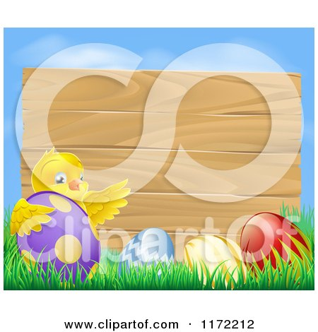 Cartoon of a Wooden Sign with a Chick and Easter Eggs Against Blue Sky - Royalty Free Vector Clipart by AtStockIllustration