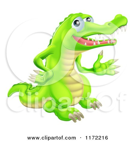 Cartoon of a Presenting Green Crocodile - Royalty Free Vector Clipart by AtStockIllustration