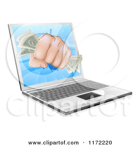 Clipart of a Fist with Money Punching Through a Laptop Computer - Royalty Free Vector Illustration by AtStockIllustration