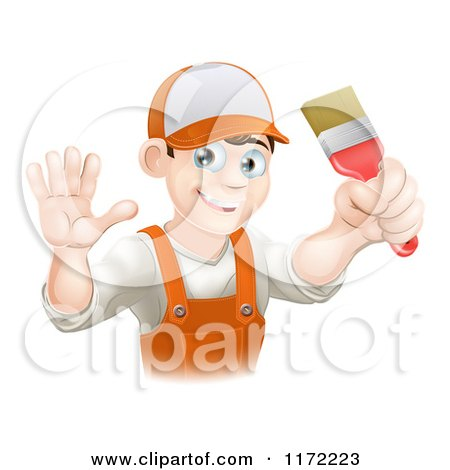 Cartoon of a Friendly Male House Painter Holding a Brush and Waving - Royalty Free Vector Clipart by AtStockIllustration