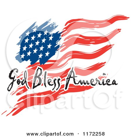 Clipart Of A Waving American Flag And God Bless America Text Royalty Free Vector Illustration