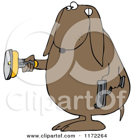 Cartoon of a Guard Dog Holding a Flashlight and Gun in the Dark - Royalty Free Clipart by djart