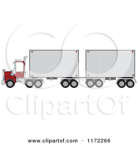 Cartoon of a Big Rig Truck with a Double Trailer - Royalty Free Vector Clipart by djart