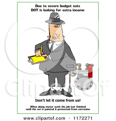 Cartoon of a DOT Man Looking at a Meter with Text - Royalty Free Clipart by djart
