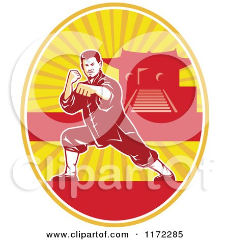 Clipart of a Shaolin Kung Fu Martial Artist in a Fighting Stance in an Oval with a Pagoda - Royalty Free Vector Illustration by patrimonio