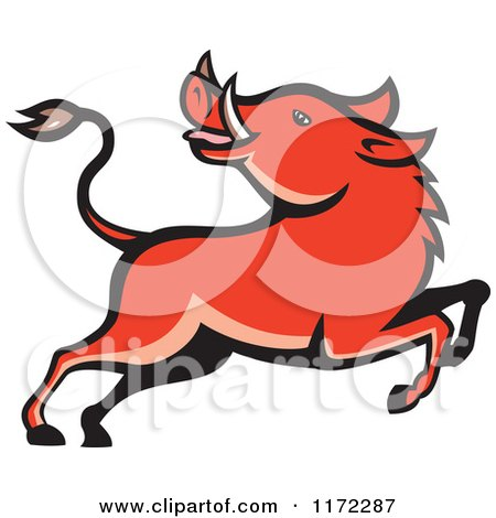 Clipart of a Razorback Boar Leaping and Looking Back - Royalty Free Vector Illustration by patrimonio