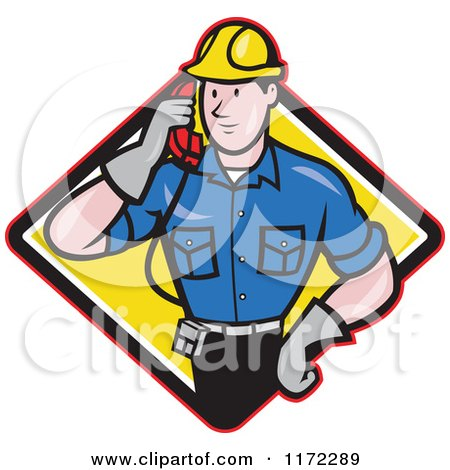 Clipart of a Telephone Service Repair Man Holding a Receiver in a Yellow Diamond - Royalty Free Vector Illustration by patrimonio