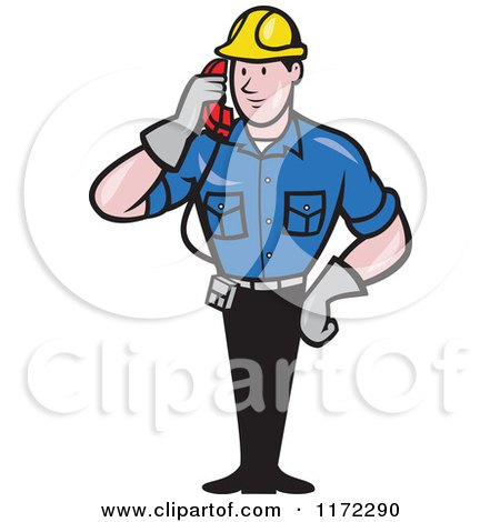Clipart of a Telephone Service Repair Man Holding a Receiver - Royalty Free Vector Illustration by patrimonio