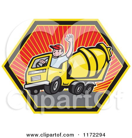 Clipart of a Cement Truck Driver Waving in a Hexagon - Royalty Free Vector Illustration by patrimonio