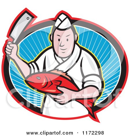 Clipart of a Japanese Fishmonger or Chef Holding a Fish and Knife in a Ray Oval - Royalty Free Vector Illustration by patrimonio