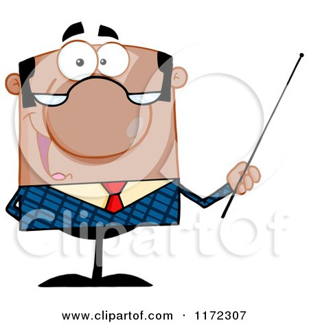 Cartoon of a Happy Black Indian or Hispanic Businessman or Professor Holding a Pointer Stick - Royalty Free Vector Clipart by Hit Toon